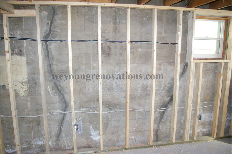 A framed wall in a basement